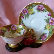 Vintage Shelley Pink & Yellow Pansies Bone China Footed Tea Cup & Saucer Set