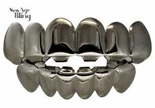 New Custom Fit Gun Metal Plated Hip Hop Teeth Grillz Caps Top & Bottom Grill Set