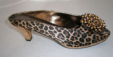 LALLA SHOES 9.5 11 OR 12 JUMP START MULES BRONZE BROWN LEOPARD BOW BEADS PEEP