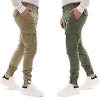 Pantalone Uomo Cargo Primaverile Con Tasconi Verde Blu Beige SlimFit Pantaloni