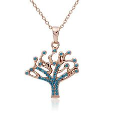 Sterling Silver Rose Gold Plated Necklace w/ Turquoise Stones Tree Pendant