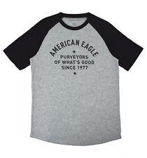2ed0586b American Eagle Mens 3885 Gray AE Logo Graphic Raglan Tee Shirt XLarge XL  3384-5