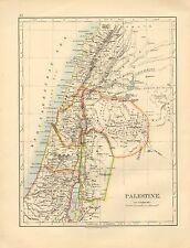 1892 Vittoriano MAP ~ Palestina ~ Giudea GALILEA decapoli Samaria