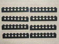 Lego Technic 8 x BLACK Beams - 8 pin / 7 Hole Brick