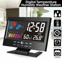 LCD-Display Digital Thermometer Hygrometer Wetterstation Wecker mit Kalender New