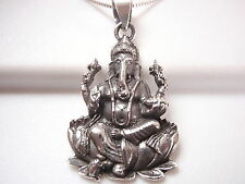 Ganesh 925 Sterling Silver Pendant Corona Sun Jewelry Hindu God India
