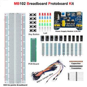 MB102 Solderless Breadboard Protoboard Set MB-102 830 Tie Point Test Circuit Kit