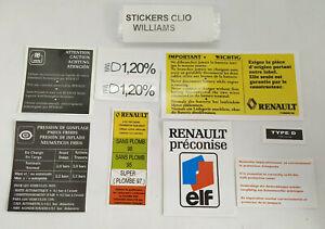 ⭐🇫🇷 NEUF KIT STICKER RENAULT CLIO WILLIAMS COMPARTIMENT MOTEUR ELF AUTOCOLLANT