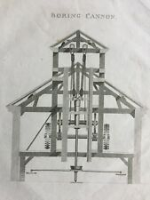 1823 Antique Print; Boring Cannon