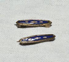 "antique gold old 3/4"" long art deco pair of cobalt blue enameled lingerie pins"