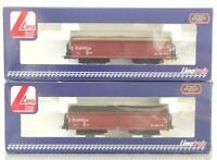 2x SCARCE LIMA L300002 HO - GERMAN DB BROWN LIVERY BOGIE ORE WAGONS WITH LOADS