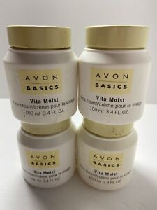 Avon Basics Vita Moist Face Cream 4 Pack in Jars Vintage 3.4 Fl oz 100 ML each