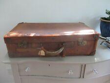 """Antique/vintage  leather suitcase, large size 23""""."""