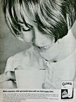 PUBLICITÉ DE PRESSE 1966 GLORIA LAIT ÉCRÉMÉ EN POUDRE INSTANTANÉ