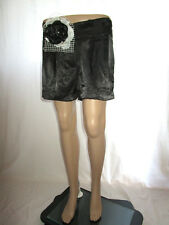 Avant Premiere Womens Sexy Black Casual Satin Tailored Evening Shorts sz 16 AF17