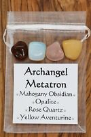 Archangel Metatron Crystal Gift Set Obsidian Opalite Rose Quartz Aventurine