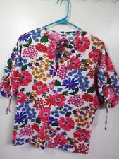 WOMENS HAND MADE PLUS SIZE 1X FLORAL Dress Blouse CAREER Wear  SHORT SLEEVE