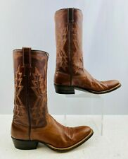 Ladies Brown Leather Round Toe Western Cowgirl Boots Size: 8 B