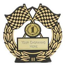 """""""Mega Chequered Flag Gold Plaque (N)   Trophy Award"""""""