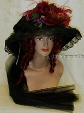 Victorian style touring hat by Elsie Massey in Black and Burgundy w/ free hatpin