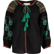 BNWT MISS JUNE EMBROIDERED TASSEL BLACK MIRROR BLOUSE ONE SIZE