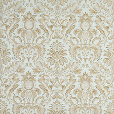 F554 Blue Green Gold Pineapple Damask Upholstery Drapery Fabric By The Yard