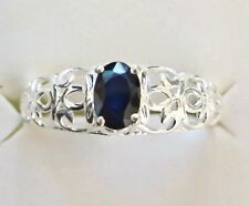 Genuine Sapphire Ring, Open Scollwork Setting, 925 Sterling Silver, size 8