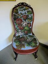 RARE 19tH CENTURY LADIES CHAIR WITH BEADED UPHOLSTERY C 1860'S