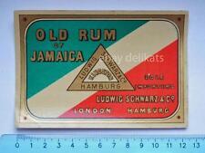 Vecchia etichetta old label vino wine Jamaica RUM Ludwig Schwartz Hamburg *