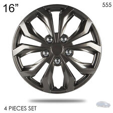 "NEW 16"" ABS GUNMETAL LUG STEEL WHEEL HUBCAPS COVER 555 FOR NISSAN"