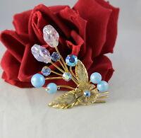 Vintage Austria Flower Blue AB  Rhinestone Beaded Pin Brooch CAT RESCUE