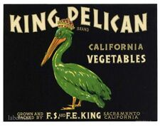 KING PELICAN Vintage Sacramento CA, *AN ORIGINAL PRODUCE CRATE LABEL*, square