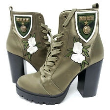 Steve Madden Laurie Women's Floral Combat Boots Army Green 6 M Fabric Uppers