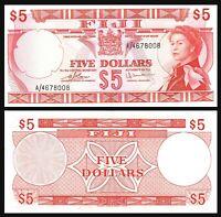 FIJI 5 $ Dollars  P73c 5 DOLLARS (1974) QE II  /  XF-AU