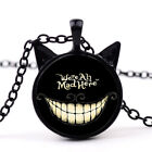 Halloween Cheshire Cat Alice in Wonderland Gemstone Necklace Glass Pendant US!
