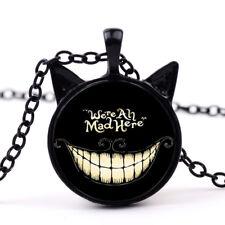 Halloween Alice in Wonderland Gemstone Necklace Cheshire Cat Glass Pendant Hot