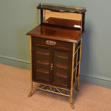 Sensational Victorian Arts And Crafts Walnut Antique Music Cabinet By S. Hall &