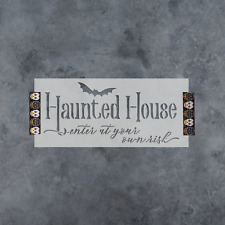 Haunted House Sign Stencil - Durable & Reusable Mylar Stencils