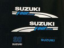 Suzuki 90 hp FourStroke Outboard Engine Decal Kit  MARINE VINYL white & blue