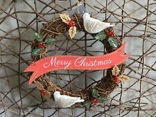 Gisela Graham natural twig holly and dove Merry Christmas banner wreath 27cm