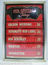 Orig 1950s era Schnely Whiskey Bar Nightclub Mixed Drink Sign Martini Manhattan