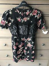 Topshop Floral Tea Dress With Black Sequin & Lace Bust Uk 6 BNWT £69