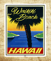 "Surf Waikiki Beach Hawaii Decal Sticker 3.6"" x 2.75"" Oahu Surfing Vintage"