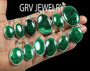 10pcs Natural Malachite Gemstone Pendants 925 Sterling Silver Overlay wh-28
