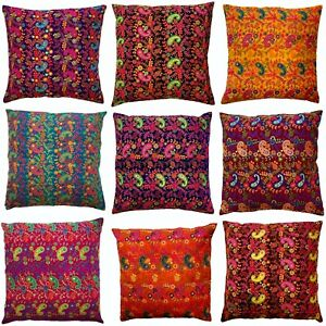Indian Paisley Mandala Cushion Covers Cotton Sequin Embroidered Boho 60 cms Zip