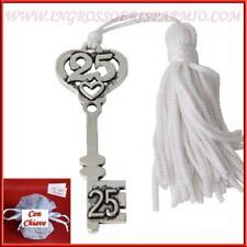 Bomboniere nozze d'argento anniversario ciondolo in metallo con 25 e cuore  6cm