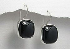 30mm Natural  Black Onyx Solid Sterling Silver Dangle Earrings 9.88g