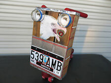 Coca Cola Push Scooter Art Eagle License Plate 1972 Americana Toy Handmade