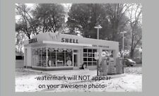 Vintage Shell Gas Station PHOTO Gasoline Island Pumps Globes Service 1940s