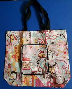 Cartoon Printed Travel Tote Water-resistant Folding Bag w/ zipper closure